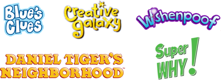 Show logos for Blue's Clues, Creative Galaxy, Wishenpoof, Daniel Tiger's Neighborhood and Super Why!