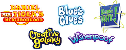 Logos from Angela Santomero's shows: Daniel Tiger's Neighborhood, Blue's Clues, Super Why!, Creative Galaxy and Wishenpoof